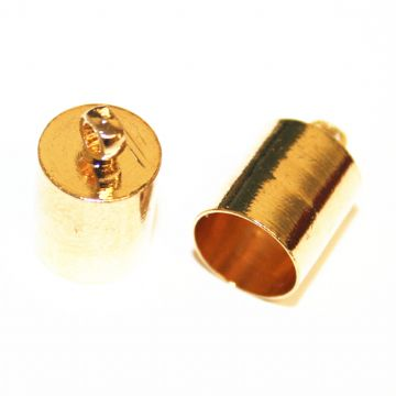 15pcs x Champagne gold - inside measurement 7mm - end connector with ring - barrel shape - 9014021
